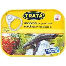 Κονσέρβα TRATA σαρδέλες σε σε φυτικό λάδι (100g)