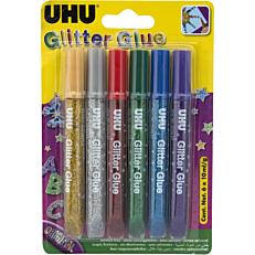 Κόλλα UHU glitter glue blister 6x10ml