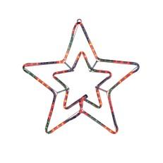 Φωτεινό περίγραμμα διπλό αστέρι κίτρινο με πρόγραμμα 3m