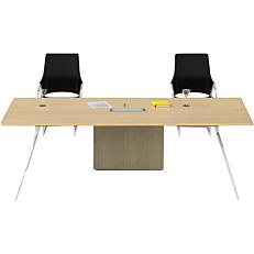 Γραφείο με χρώμα ξύλου και βάση αλουμινίου και σύστημα αποθήκευσης καλωδίων 240x120x75