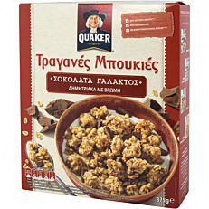 Δημητριακά QUAKER τραγανές μπουκιές βρώμης με σοκολάτα γάλακτος (375g)
