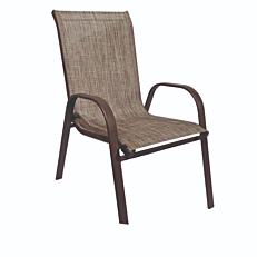 Πολυθρόνα MIMOSA GARDEN με καφέ σκελετό και καφέ textilene