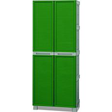 Ντουλάπα πλαστική με ράφια πράσινη 70cm x 39cm x 1,72m