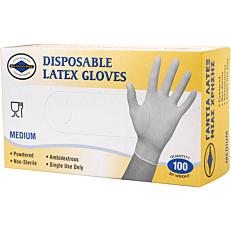 Γάντια PRACTIC μίας χρήσης latex, medium (100τεμ.)