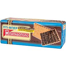 Μπισκότα ΠΑΠΑΔΟΠΟΥΛΟΥ ΠΤΙ ΜΠΕΡ ολικής άλεσης με μαύρη σοκολάτα (200g)