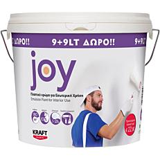 Χρώμα KRAFT Joy πλαστικό εσωτερικής χρήσης, λευκό (9+9lt ΔΩΡΟ)
