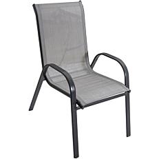 Πολυθρόνα MIMOSA GARDEN γκρι με μαύρο σκελετό textilene