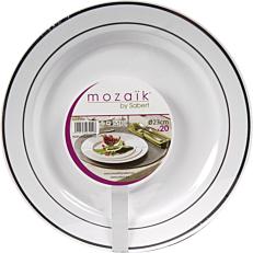 Πιάτα PS πλαστικά λευκά με ασημί ρίγα 23cm (20τεμ.)