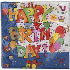 Χαρτοπετσέτες με σχέδιο Happy Birthday 25x25cm δίφυλλες (16τεμ.)