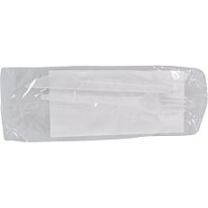 Κουβέρ MELODY TIME πλαστικό λευκό, πιρούνι, μαχαίρι, χαρτοπετσέτα λευκή (100τεμ.)