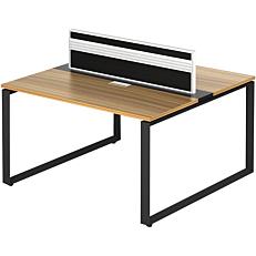 Γραφείο εργασίας 2 ατόμων, από μελαμίνη τικ μαύρο με σύστημα αποθήκευσης καλωδίων 140x140x75cm