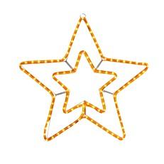 Φωτεινό περίγραμμα διπλό αστέρι λευκό με πρόγραμμα 3m