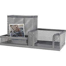 Βάση γραφείου με μεταλλικό δίχτυ ασημένια 20x20x10cm