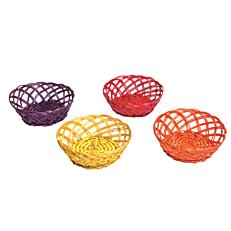 Πανέρι ψάθινο στρογγυλό πλεχτό σε 4 χρώματα
