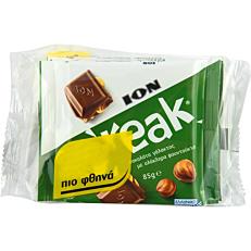Σοκολάτα ΙΟΝ Break γάλακτος με ολόκληρα φουντούκια (3x85g)