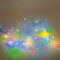 Φωτάκια Copper με πολύχρωμο φως 20 led μπαταρίας χαλκού 3xAA εσωτερικού χώρου 2m