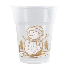 Ποτήρια πλαστικά διάφανα χιονάνθρωπος 300ml (50τεμ.)