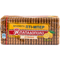 Μπισκότα ΠΑΠΑΔΟΠΟΥΛΟΥ ΠΤΙ ΜΠΕΡ με βρώμη και λεμόνι (155g)