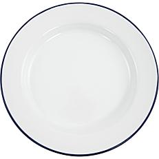 Πιάτο ρηχό εμαγιέ HENDI λευκό με μπλε rim Φ24cm