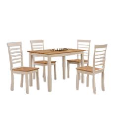 Σετ τραπέζι montreal με 4 καρέκλες, λευκός σκελετός και επιφάνεια από φυσικό ξύλο - Rubberwood 114x68x74