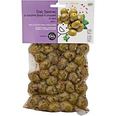 Ελιές ΕΔΕΜ πράσινες με αρωματικά βότανα και μπαχαρικά σε άλμη (250g)
