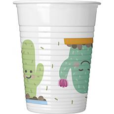 Ποτήρια PP με σχέδιο Cactus 200ml (8τεμ.)