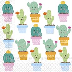 Χαρτοπετσέτες με σχέδιο Cactus 33x33cm δίφυλλες (20τεμ.)