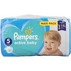 Πάνες PAMPERS active baby Maxi Pack No.5 (51τεμ.)
