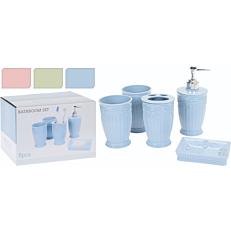 Σετ μπάνιου, dispenser και θήκες σε 3 χρώματα (5τεμ.)