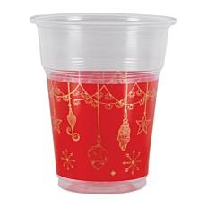 Ποτήρια πλαστικά διάφανα κόκκινα με στολίδια 300ml (50τεμ.)