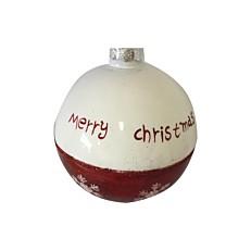Χριστουγεννιάτικη μπάλα γυάλινη κόκκινη  merry christmas 8cm