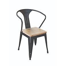 Καρέκλα αλουμινίου με ξύλινο κάθισμα, στρογγυλή πλάτη 51x57x78,5cm
