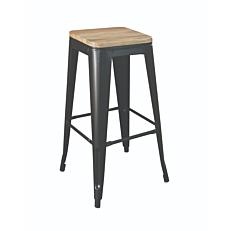 Σκαμπώ μπαρ αλουμινίου με ξύλινο κάθισμα 43x43x76cm