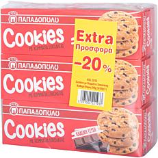 Μπισκότα ΠΑΠΑΔΟΠΟΥΛΟΥ cookies με κομματάκια σοκολάτας (3x180g)