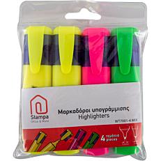 Μαρκαδόροι STAMPA υπογράμμισεις σε δίφορα χρώματα (4τεμ.)