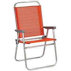 Πολυθρόνα παραλίας αλουμινίου πτυσσόμενη πορτοκαλί 65x56x92cm