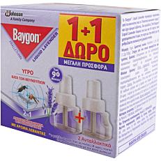 Αντικουνουπικό BAYGON με άρωμα λεβάντας διαρκεί 90 νύχτες, υγρό 1+1ΔΩΡΟ (2x27ml)